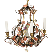 "CHARMING Bronze  Polychrome Metal Five Light Chandelier "" Porcelain Flowers & Porcelain Bird"""