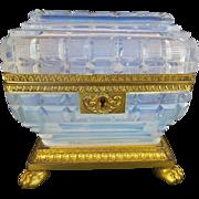 "Antique French Bulle de Savon Opaline Casket Hinge Box ""FOOTED BASE"""