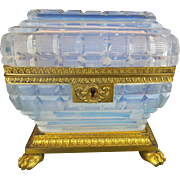 "Antique French Bulle de Savon Opaline Casket Hinge Box ""FOOTED BASE"""