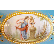 """Antique French """"Sevres Style"""" Sweet Cherub Jeweled Hinged Box Casket"""