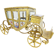 """Glorious 7"""" Austrian Viennese Enamel """"Putti Pastoral"""" Miniature Coach ~ NINE WONDERFUL PLAQUES"""