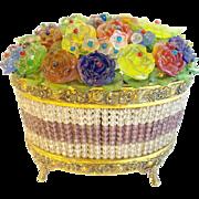 "Fabulous Czech Glass Flower Basket Lamp ""AMAZING FLOWERS"""