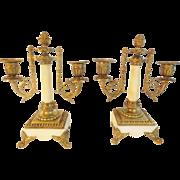 """Antique Bronze Alabaster Double Light Candelabras  """"LOVELY FOOTED BASE"""""""