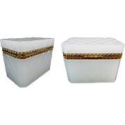 "Grandest Antique White French Opaline Casket Hinged Box  ""Exquisite Gilt Bronze Mounts"""