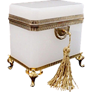 "Very Fine Antique French White Opaline Casket Hinged Box ""Awesome Footed Base"""