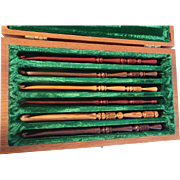 Vintage 6 Craved Exotic Wood Knitting Needles in Original Walnut Presentation Box