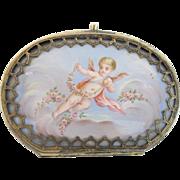 """LAYAWAY Antique REVET Enamel Putti Purse   """"Exquisite Little Purse wTwo Enamel Plaques"""""""