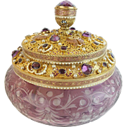"""Antique Austrian Jeweled Amethyst Cut to Clear  Box  """"EXQUISITE"""""""
