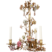 "Grand Italian Gilt Metal Three Light Chandelier ""Exquisite Porcelain Flowers & Metal Vine Garlands with Amethyst Crystal """