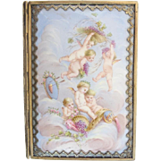 "Antique French Putti  Enamel Notebook ""Original Pencil &  Silk Lining"" PALAIS ROYAL"