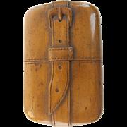 "ANTIQUE Carved Trompe l'oeil Match Case  ""A Carved Belt Strap & Interior Striker"""