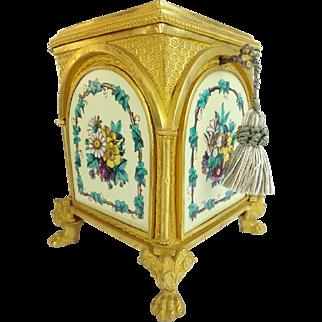 "Antique 19C French Bronze Enamel Casket Hinged Box ""BIG Beautiful Hairy Paws"""