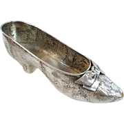 "Grandest  6 ¾"" Antique 800 German Repousse Silver Shoe with Bow"