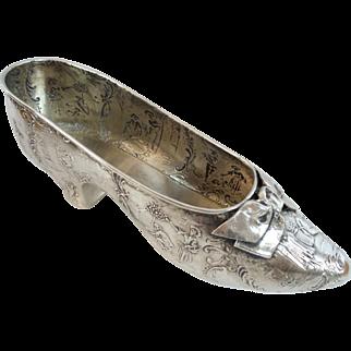 "Grandest  6 ¾"" Antique 800 German Repousse Silver Shoe with Bow"