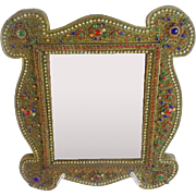 "Glorious 16"" Antique Jeweled Mirror ""Covered in Gilt Ormolu  & Gems"""
