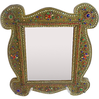 """Glorious 16"""" Antique Jeweled Mirror """"Covered in Gilt Ormolu  & Gems"""""""