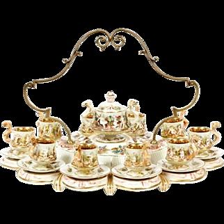 "R. Capodimonte Porcelain Demitasse Tea Service  ""PUTTI  & AWESOME GILDING"" Big Brass Handle"