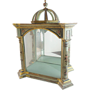 "Antique 23""  Hand Painted Italian Vitrine ""A Majestic Place for A Collection of Tiny Treasures"""