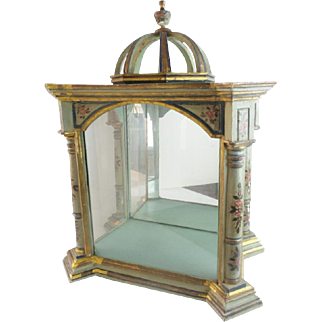 """Antique 23""""  Hand Painted Italian Vitrine """"A Majestic Place for A Collection of Tiny Treasures"""""""