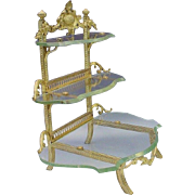 "Antique French Bronze & Glass Curio Vanity ""Perfect Place for Your Little Treasures"""