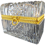 "Antique French Cut Crystal Dome Top Casket Hinged Box ""EXQUISITE CUT"""