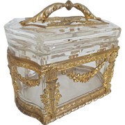 "Antique French Empire Style Casket Box with Exquisite Handle Top ""GRANDEST"""
