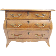 Charming Antique  French Miniature Three Drawer Chest 'EXQUISITE BRASS HANDLES""
