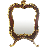 """1840 French Bronze and Faux Tortoise (Casein) Table Top Easel Vanity Mirror """"GRANDEST"""""""