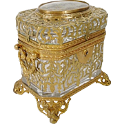 """Grandest French Eglomise Glass Box"""" Wrapped in Gilt Ormolu Lace """""""