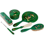 "Vintage French Hand Painted Chinoiserie Green Vanity Set ""Awesome Green  & Set of Six Beautiful Pieces"""