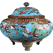 "Antique 12 ½"" Chinese Cloisonné Covered Box ""BIRDS & FLORAS"" A Cloisonné Masterpiece"