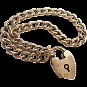 Charming Antique 9KARAT  Heart Padlock Link  Bracelet