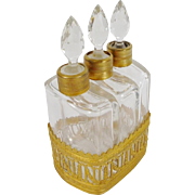 """Exquisite Antique French Scent Caddy """" EMPIRE STYLE  """"  ~  Fabulous Gilt Ormolu Holder for Three Beautiful Gilt  Collared Scent Bottles ~ Stunning Cut Stopper ~"""