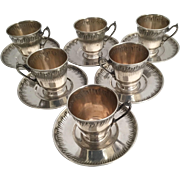 Magnificent Antique French Napoleon III era SIX Sterling Silver Chocolate, Coffee or Tea Cup & Coaster Set ~  12 PIECE SET ~ Paul Canaux & Cie, Paris, Circa 1892-1911
