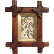 Lovely Hand Carved Wood Frame with Hand painted Card and Silk Thread Flowers~ Very interesting Little Work of Art