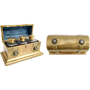 "Antique English Bronze and Petra Dura Scent Casket. ~ Beautiful Bronze Dome Top with Six ½"" Petra Dura Plaques ~  Exquisite Gift to ""MAY from HARRY"" Engraved on the Dome Top ~"
