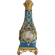 Magnificent Palais Royal Blue Opaline Perfume with Five Miniatures. ~Blue Opaline Bottle is Draped in Gilt Ormolu ~  Four Miniature are Nestled in the Gilt Ormolu and The Flip Top has a Miniature