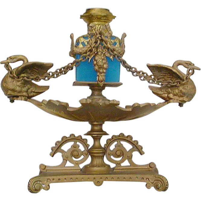 "Exquisite Palais Royal Figural Scent Caddy ""Swans and Blue Opaline Bottle"""