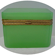 Rare Antique French Green Jewelry Casket Box