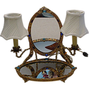 Rarest Antique  Austrian Jeweled Vanity w Twin Lamps