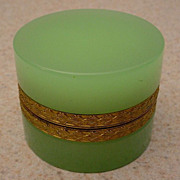 """Antique French Green Opaline Hinged  Box """"Fancy Gilt Mounts"""""""