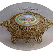 "Rarest and Exquisite  11"" 1860 French Dore' Bronze Ormolu Potpourri Casket ""Sevres Porcelain Pastoral  Plaque"""