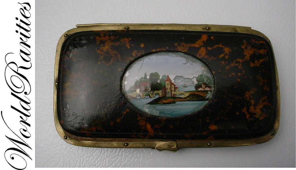 Antique French Tortoise Eglomise Cigar Card Case