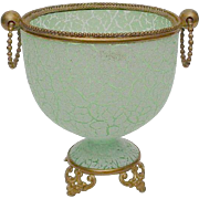 Antique Green Crackle Opaline Cache