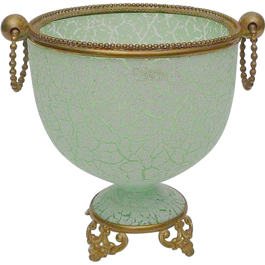Antique Green Crackle Opaline Cache
