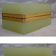 "Antique French Lime Green Opaline Hinged Box  ""RARE COLOR"""