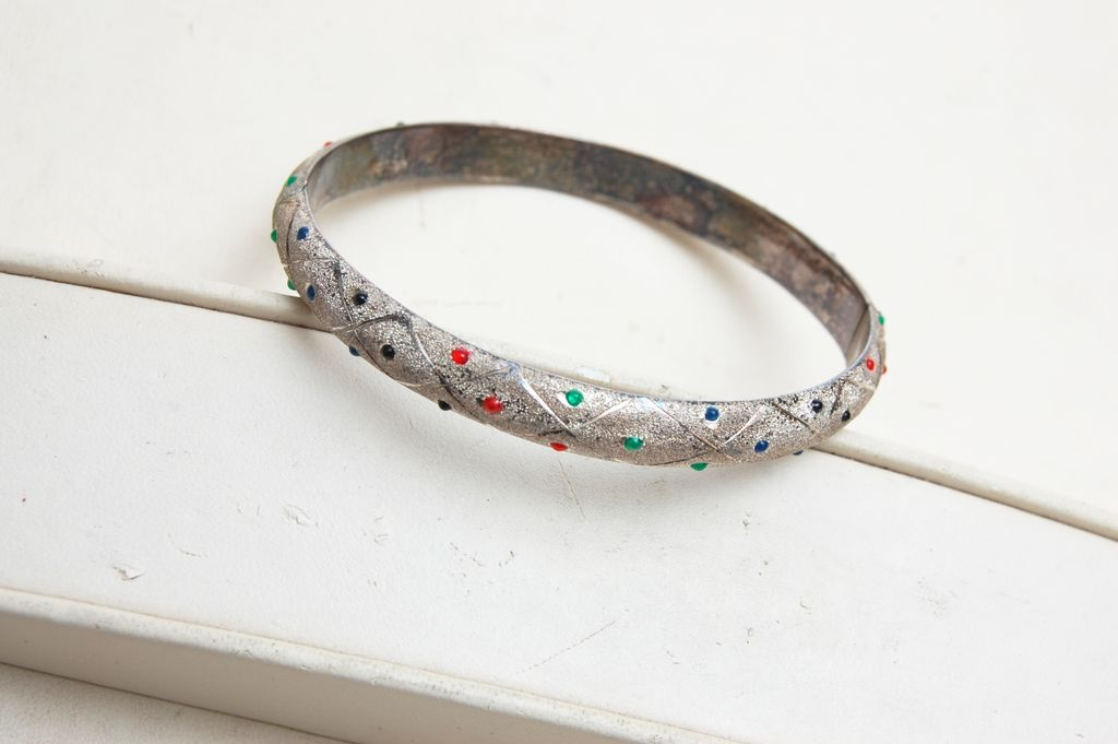 Sterling Bangle With Colored Jelly's