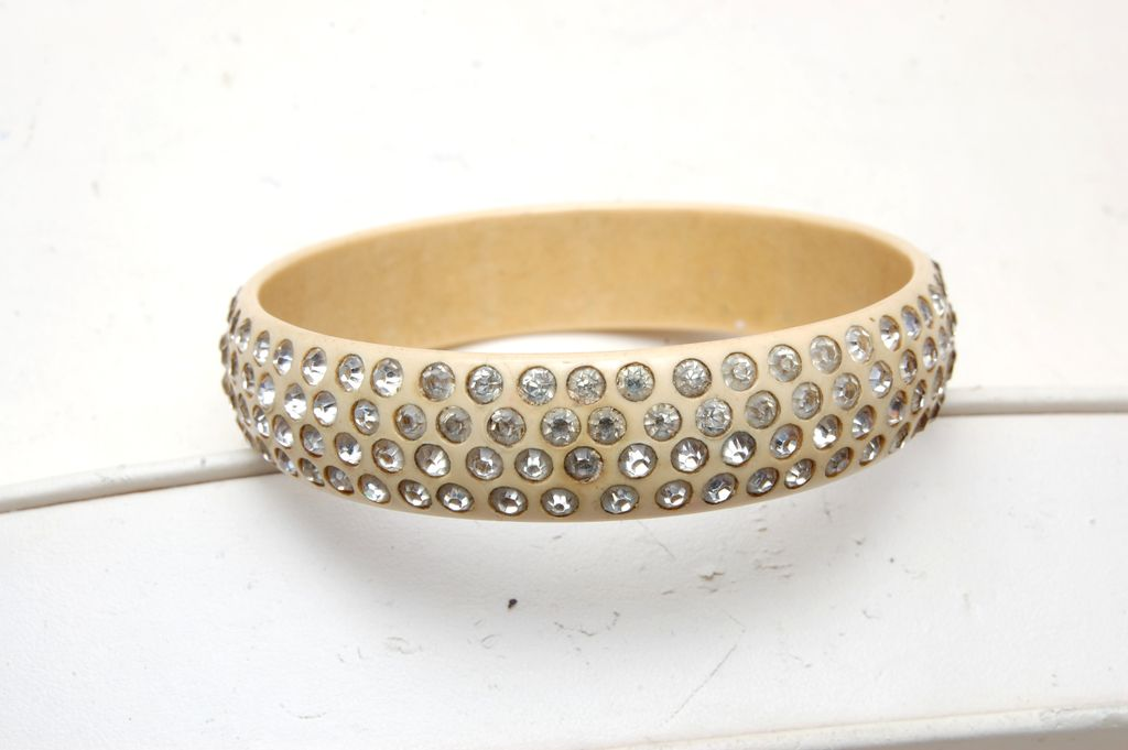 Celluloid Bracelet With 4 Rows of Rhinestones