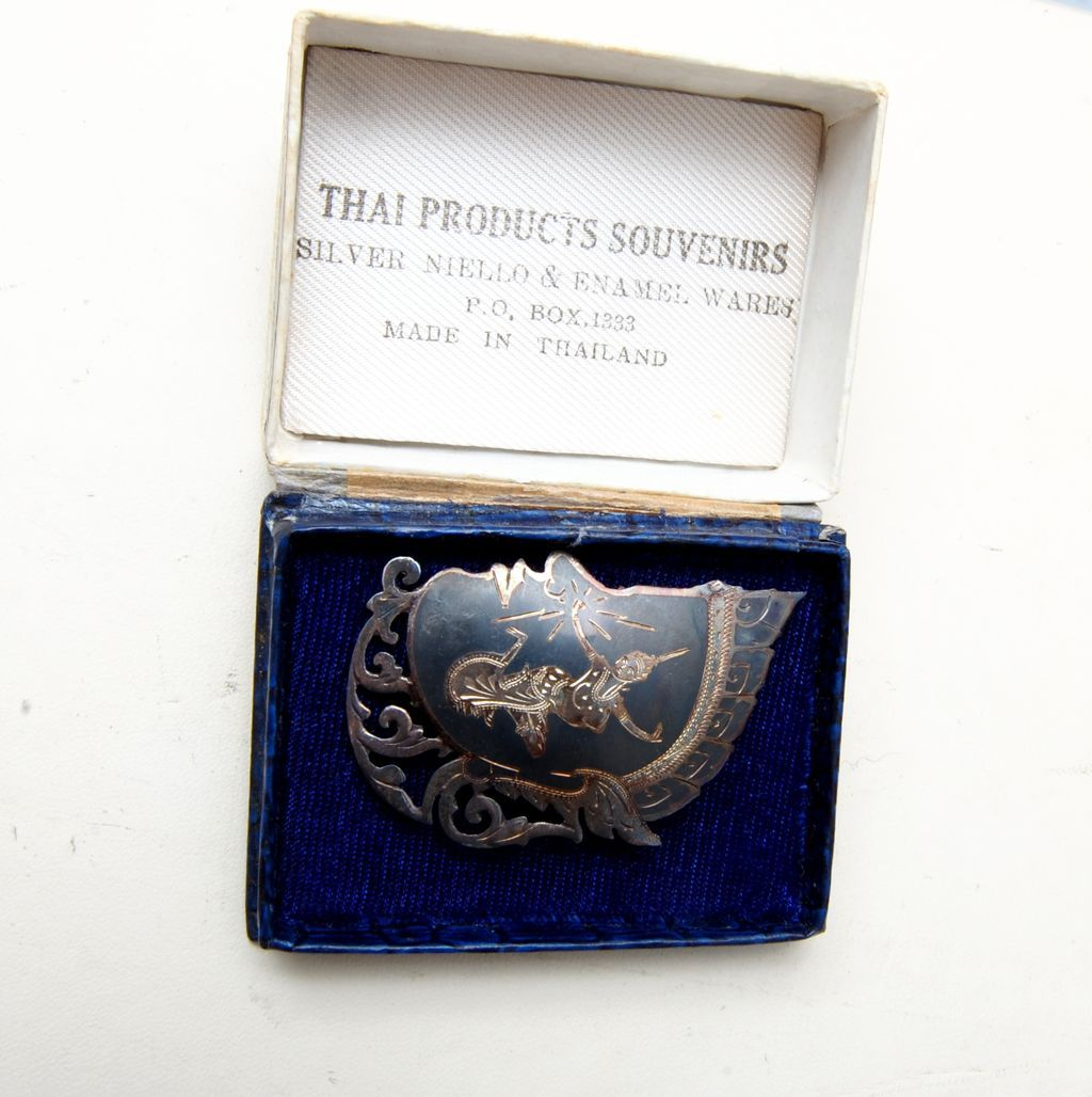 Thai Siam Sterling Brooch in Original Box