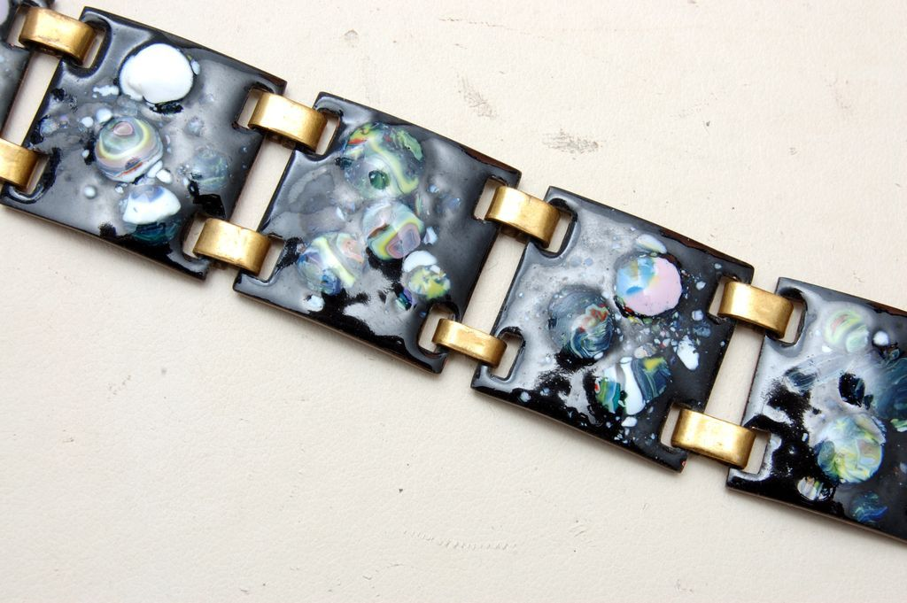 Enameled Bracelet - 7 Panels - Black and Colorful Enamel